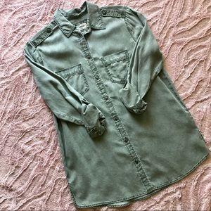 EXPRESS Olive Button down Boyfriend Shirt
